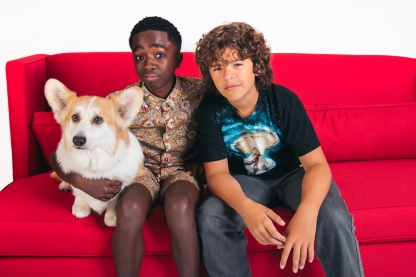 Stranger Things_ Caleb McLaughlin and Gaten Matarazzo with The Crown Corgi